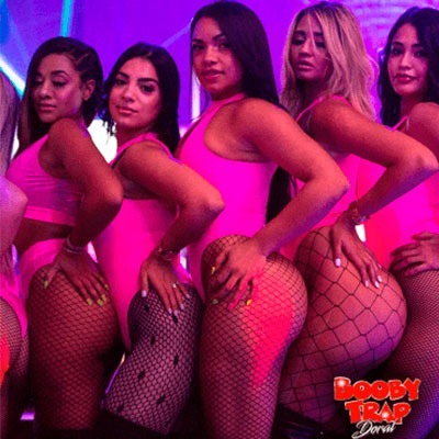 5 entertainers wearing pink bikini or swimsuit mesh stockings Miami Strip Clubs Booby Trap Doral
